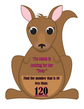 """Mama Kangaroo is Looking for Her """"Joey"""" - 10 more than, 10 less than"""