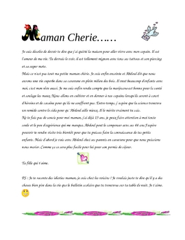 Maman Cherie - Reading comprehension and writing prompt
