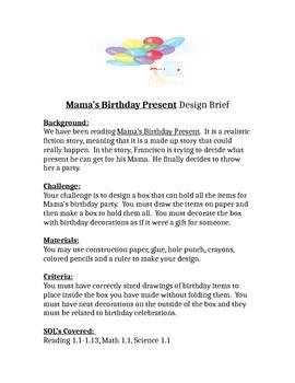 Mama's Birthday Present Children's Engineering STEM Design Brief