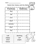 Mamas and Babies - Adult and Baby Animal Match Up