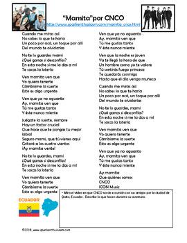 Mamita Spanish Song Lyrics and Fun Activities - CNCO