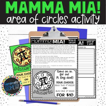 Mamma Mia! Area of Circles Pizza Advertisement Activity
