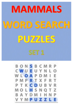 Mammals Word Search Puzzles -- Set 1