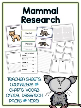 Mammal Animal Research Project - 16 Types, Vocab Cards, Packet, Book  + More!