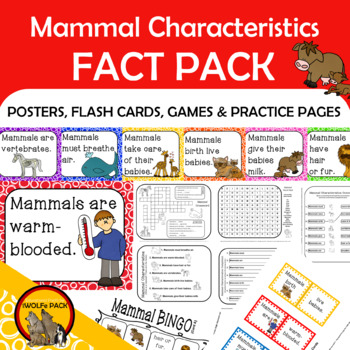 mammals characteristics fact pack informational text reading writing posters. Black Bedroom Furniture Sets. Home Design Ideas