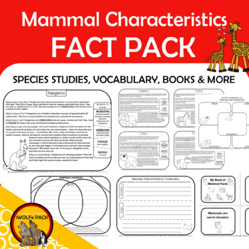 MAMMALS CHARACTERISTICS Fact Pack Informational Text Reading Writing Posters