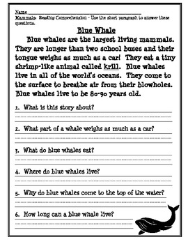 Mammal Fresh Reads for Reading Comprehension
