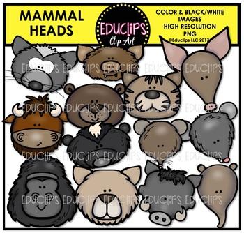 Mammal Heads Clip Art Bundle {Educlips Clipart}