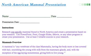 Mammal Presentation Instructions & Rubric