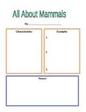 Mammal Worksheet (For Animal Book)
