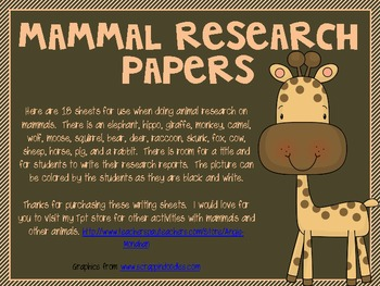 Mammal Writing Papers