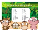 Mammal names differentiated spelling packet by SpellingPackets.com