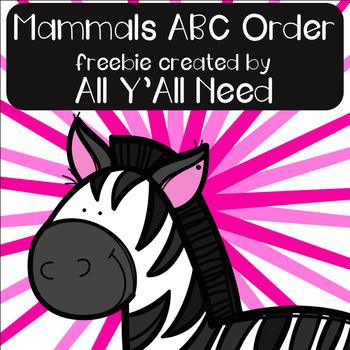 Mammals ABC Order freebie