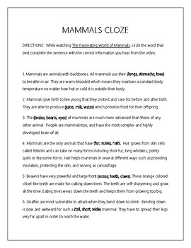 Mammals Acrostic Poem, Cloze, and Card Sort