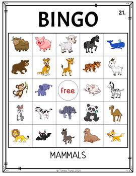 Mammals Bingo -- 5x5 Grid