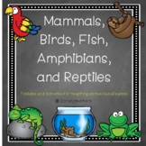 Mammal, Bird, Fish, Amphibian, and Reptile Foldable For An