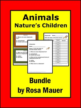Mammals Bundle of Science Task Cards and Worksheets