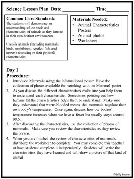 Mammals - Characteristics of Animals Leson Plan, Photos, Poster