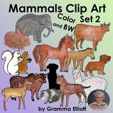 Mammals Clip Art Set 2 Semi Realistic Color Black Line and Silhouettes