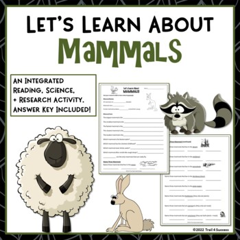 Mammals Webquest Scavenger Hunt Research Activity Common Core