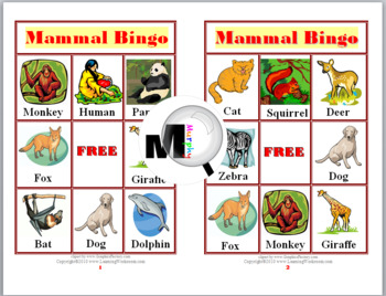 Mammal Bingo Game (Animal Classification)