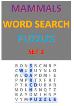 Mammals Word Search Puzzles -- Set 2