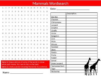 Mammals Wordsearch Sheet Animals Nature Starter Activity Keywords Homework