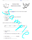 Mammals and Birds Quiz science first grade