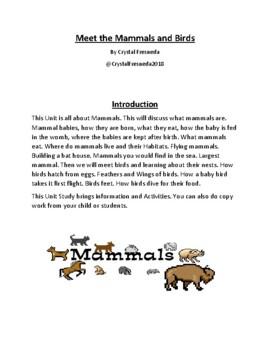 Mammals and Birds Information & Activities