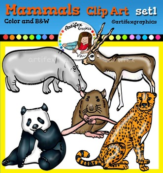 Mammals clip art set1 - color and B&W-