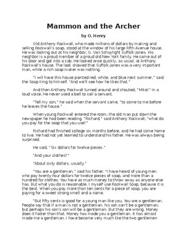 Mammon and the Archer - O. Henry story - easy reading version