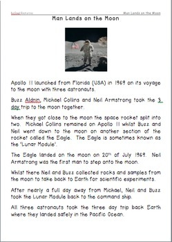 Man Lands on the Moon Comprehension