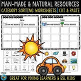 Man-Made vs Natural Resources | Category Sort | Cut and Paste Worksheets