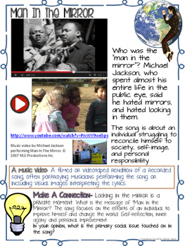 MAKE A DIFFERENCE, MAN IN THE MIRROR LYRICS, LESSON, VIDEO, POETRY, ACTIVITIES