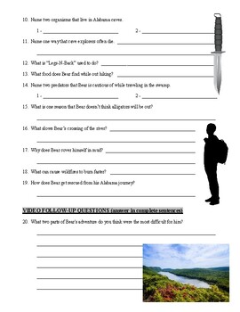 Man vs Wild Alabama (video worksheet)