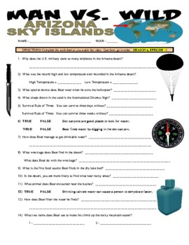 Man vs Wild Arizona (video worksheet)