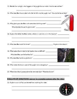 Man vs Wild Borneo Jungle (video worksheet)