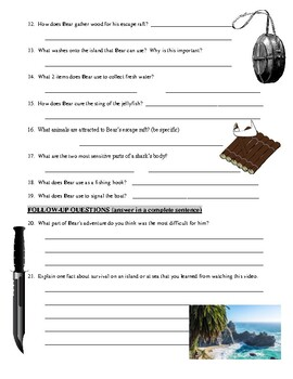 Man vs Wild Castaway (video worksheet)