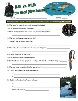 Man vs Wild Land of the Maori - New Zealand (video worksheet)