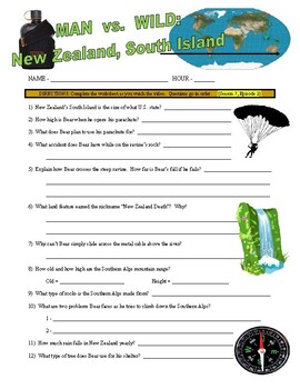 Man vs Wild New Zealand, South Island (video worksheet)