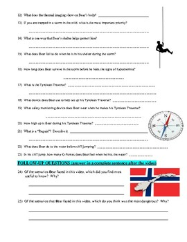 Man vs Wild Norway (video worksheet)