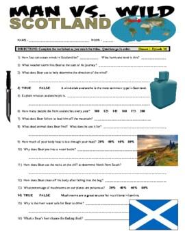 Man vs Wild Scotland Highlands (video worksheet)