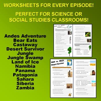 Man vs Wild Season 2 Bundle (13 Video Worksheets & More!)