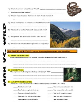 Man vs Wild Sierra Nevada Mountains (California, video worksheet)