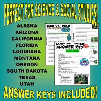 Man vs Wild USA Bundle Package (10-video worksheets and more!)