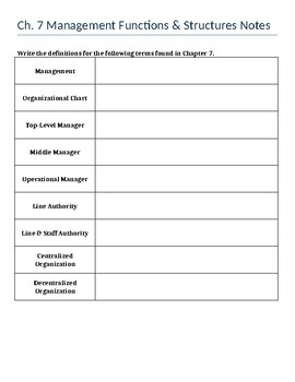Management Guided Notes - Intro to Business Ch. 7