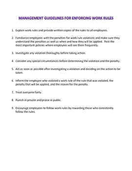 Management Guidelines for Enforcing Work Rules Assignment