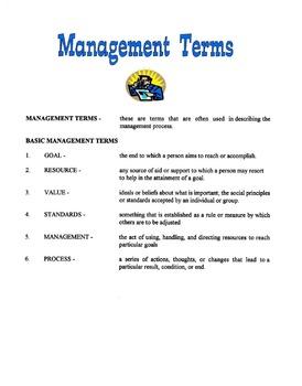 Management Terms Lesson