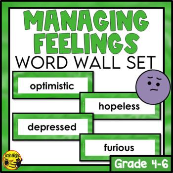 Managing Feelings Word Wall Words- Editable