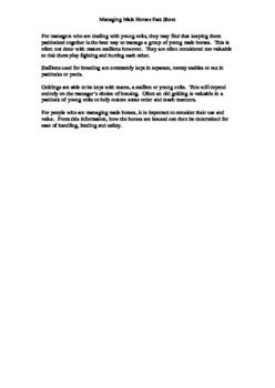 Managing Male Horses Fact Sheet